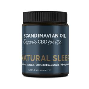 Fritlagt billede nr. 2 af 20 mg CBD kapsler, som også indeholder 1,8 mg melatonin fra Scandinavian Oil